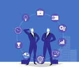 Vector illustration of two businessmen and business icons. Vector illustration of two businessmen talking to each other and business flat icons, infographic Stock Images
