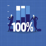 Vector illustration of two businessmen next to growing diagram. One hundred percent sign, flat style design stock illustration