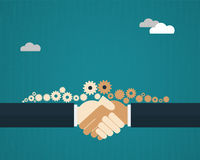 Vector illustration  two businessmen shaking hands. And sharing gears Royalty Free Stock Photos