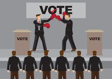 Election Candidate Fighting on Stage Cartoon Vector Illustration Stock Photo
