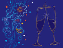 Vector illustration with two contour champagne glasses or flute in gold on the blue background with dotted swirls and snowflakes. Decor in dotwork style for Stock Photography