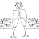Vector illustration with two contour toasting champagne glass and ornate heart in black isolated on white background. Outline glasses and hearts in line art stock illustration