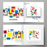 The vector illustration of two covers templates for square design bifold brochure, magazine, flyer, booklet. Abstract. Polygonal background, colorful mosaic vector illustration