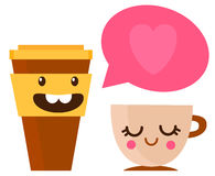 Vector illustration of two cups of coffee Royalty Free Stock Photography