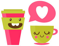 Vector illustration of two cups of coffee in love Royalty Free Stock Images