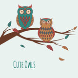 Vector illustration of two cute colorful owls sitting on a branc. H Stock Images
