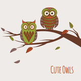 Vector illustration of two cute colorful owls sitting. On a branch Royalty Free Stock Image