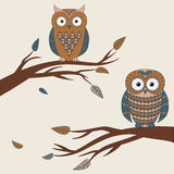 Vector illustration of two cute colorful owls sitting. On a branch Stock Photography