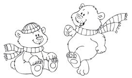 Vector illustration of two cute and happy bears Royalty Free Stock Photography