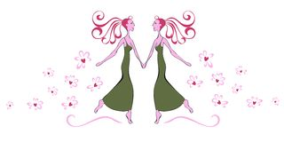 Vector illustration of two dancers Stock Photos
