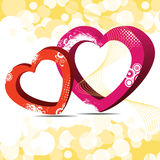 Vector illustration of two decorative heart shapes Stock Images