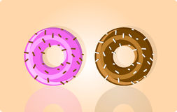 Vector illustration of two donuts Royalty Free Stock Photography