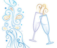 Vector illustration with two dotted champagne glass or flute isolated on white background with abstract blue swirls and snowflakes Royalty Free Stock Photos