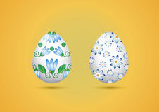 Vector Illustration - Two Easter Eggs. On Yellow Background Stock Photo