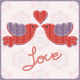 Vector illustration with two enamored birds and a heart. Royalty Free Stock Photo