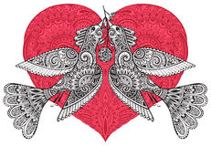 Vector illustration of two fancy birds with ornate red heart Stock Photos