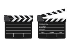 Vector illustration of two film clappers isolated on white Stock Photography