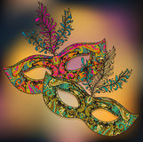 Vector illustration of two floral Venetian carnival masks with f Stock Photo