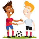 Vector illustration of two friendly cartoon soccer players standing on football field with ball shaking hands with respect Stock Image