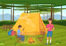 Vector illustration of two friends cooking bbq barbeque and sitting near camping tent. Vector illustration of two friends cooking barbeque and sitting near vector illustration