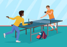 The vector illustration of two friends playing the table tennis. Stock Photo