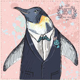 Vector Illustration of two Funny Penguins dressed Stock Images