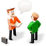 Vector illustration: two funny speaking men in cubic style Stock Photography