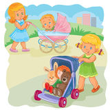 Vector illustration of two girls ride buggies Royalty Free Stock Photography
