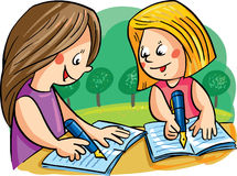 Vector illustration with two girls writing Stock Image
