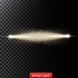 Vector illustration of a two golden light rays with glitter, a light beams with sparks. A glow effect, an explosion, a flash on a black background. Design Vector Illustration