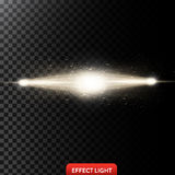 Vector illustration of a two golden light rays with glitter, a light beams with sparks. A glow effect, an explosion, a flash on a black background. Design Stock Illustration