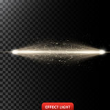 Vector illustration of a two golden light rays with glitter, a light beams with sparks. A glow effect, an explosion, a flash on a black background. Design Royalty Free Illustration