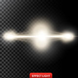 Vector illustration of a two golden light rays, a light beams, a glow effects. An explosion, a flash on a black background. Design element Vector Illustration