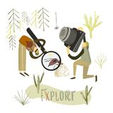 Two guys explore the nature. Hand drawn stylized people vector illustration