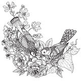 Vector illustration of two hand drawn graphic birds  Royalty Free Stock Image