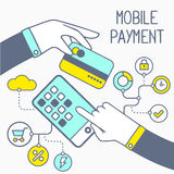 Vector illustration of two hands with bank card and mobile phone Royalty Free Stock Photography