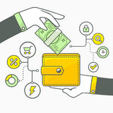 Vector illustration of two hands with money and wallet on light Royalty Free Stock Photography
