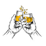 Vector illustration of two hands raised stemware Stock Image