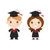 Vector illustration of two happy cute kids characters. Stock Photo