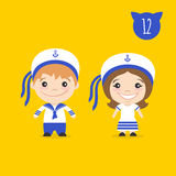 Vector illustration of two happy cute kids characters. Stock Image