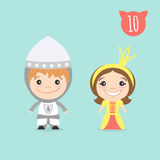 Vector illustration of two happy cute kids characters. Royalty Free Stock Image