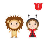 Vector illustration of two happy cute kids characters. Boy in li Stock Photos