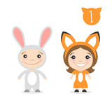 Vector illustration of two happy cute kids characters. Stock Photography