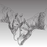 Vector illustration of two horse in the style of hand drawn Stock Images