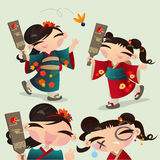 Vector illustration of two Japanese kids playing Battledore and Shuttlecock. Royalty Free Stock Photography
