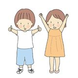Vector illustration of two kids, boy with thumbs up and girl with raised arms & fits celebrating success. Sign and gesturing. Okay, yes, well done, victory royalty free illustration