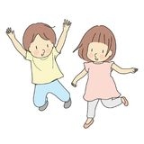 Vector illustration of two kids jumping together. Early childhood development, happy children day card, child playing, family. Brother & sister, friends royalty free illustration