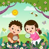 Two kids looking through magnifying glass at ladybugs on plants. Children observing nature