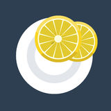 Vector illustration of two lemon wedges slice on plate. Vector illustration of two wedges of lemon slice on plate. Flat design mock up top view Royalty Free Stock Image