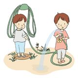 Vector illustration of two little kids playing with water hose in yard stock illustration